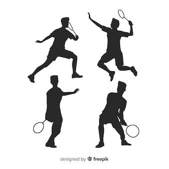 Collezione silhouette piatto giocatore di badminton