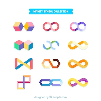 Collezione simbolo infinito colorato con design piatto