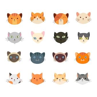 Collezione simpatica testa di gatto con molte facce