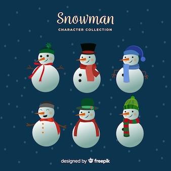 Collezione simpatici pupazzi di neve