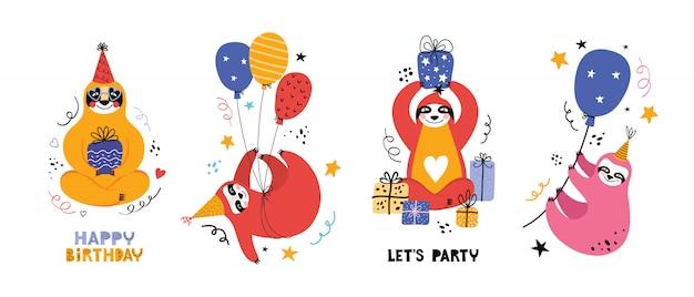 Collezione simpatico bradipo kawaii ad una festa. orso del fumetto con regali e altri articoli per le vacanze. biglietto di auguri o banner per un compleanno.