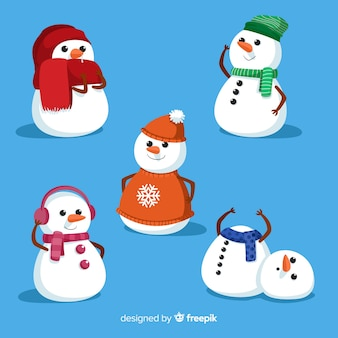 Collezione simpatico pupazzo di neve