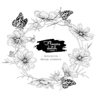 Collezione sketch botanica floreale, disegni di fiori cosmos.