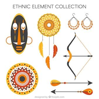Collezione sveglia di oggetti etnici