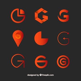 Collezione template lettera g g logo