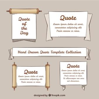 Collezione template quote quote disegnate a mano