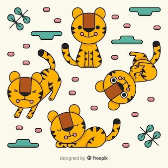 Collezione tigre disegnata a mano carina