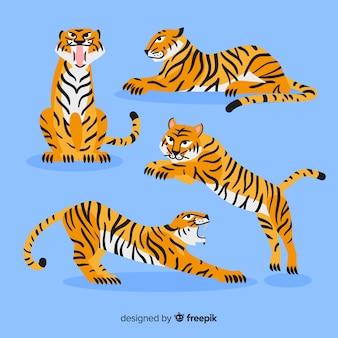 Collezione tigre stile disegnato a mano