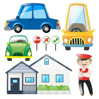 Collezione veicoli colorato