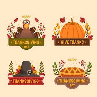 Collezione vintage di badge del ringraziamento