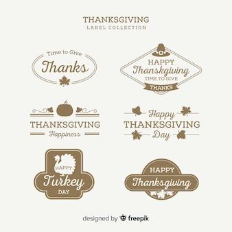 Collezione vintage di etichette del giorno del ringraziamento