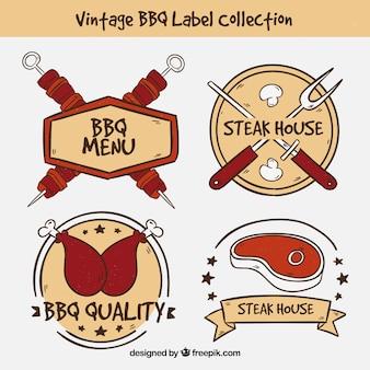 Collezione vintage di etichette per barbecue