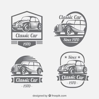 Collezione vintage di loghi con auto d'epoca