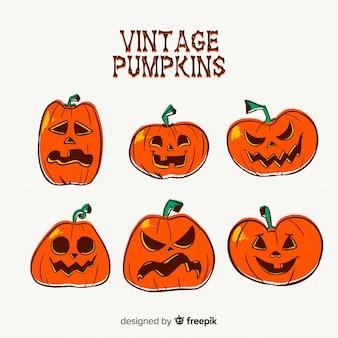 Collezione vintage di zucca di halloween