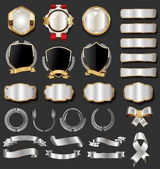 Collezione vintage distintivi ed etichette d'oro