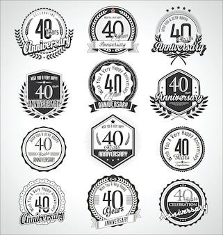 Collezione vintage distintivi ed etichette di anniversario vintage