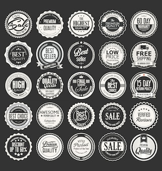 Collezione vintage retrò distintivi ed etichette vettoriale