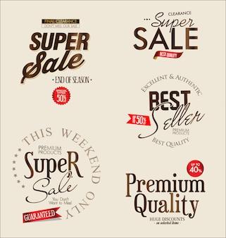 Collezione vintage retrò etichette di super vendita vettoriale