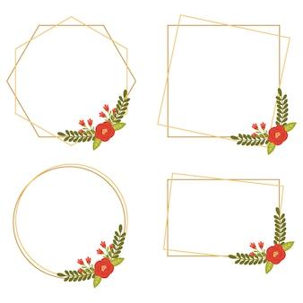 Collezioni di cornici floreali geometriche di nozze vintage