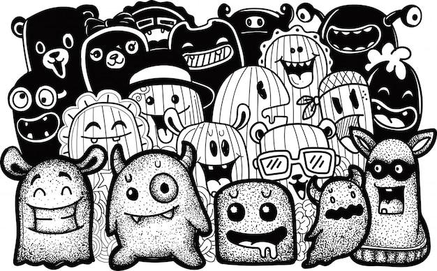 Collezioni di mostri carini in stile doodle