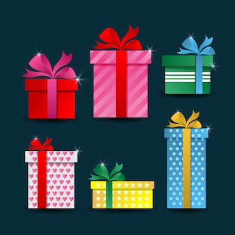 Collezioni di vettore di scatola regalo colorato