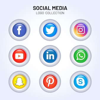 Collezioni lucide di logo sui social media