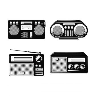 Collezioni vettoriale radio bianco e nero