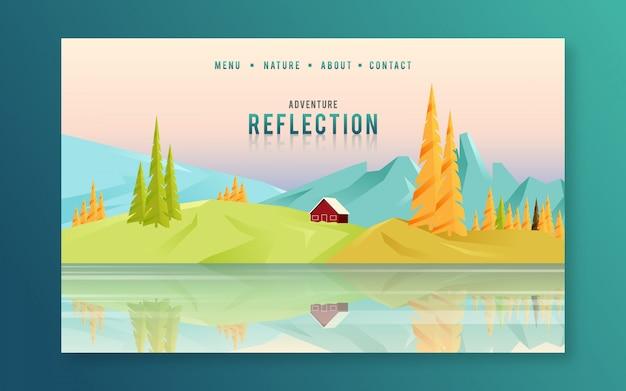 Colline e montagne riflettono sulla pagina di destinazione del sito web dell'acqua