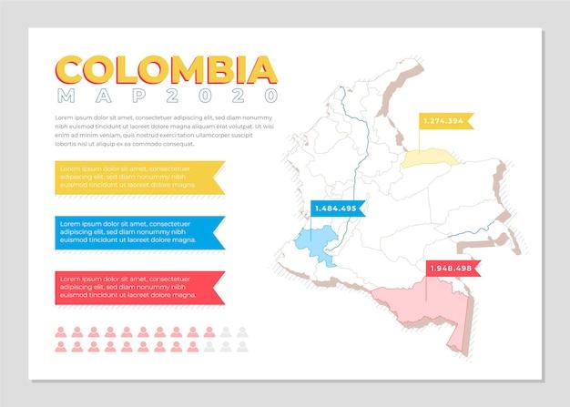 Colombia mappa infografica in design piatto