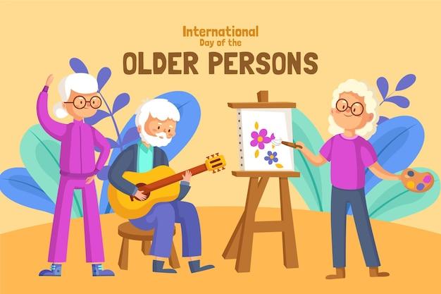 Colorata giornata internazionale delle persone anziane