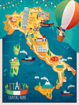 Colorata mappa di viaggio in italia con simboli di attrazione, parole italiane per venezia, vesuvio, milano, napoli, sardegna, roma e parole francesi per la corsica in tutto il quadro