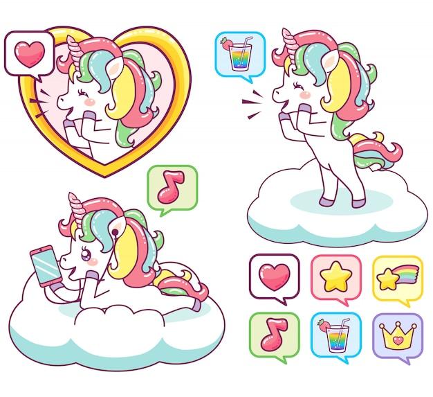 Colorati felici unicorni che inviano messaggi, ascoltano musica