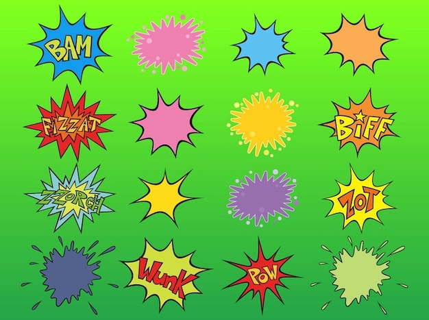 Colorato cartoon esplosioni vettore pacco