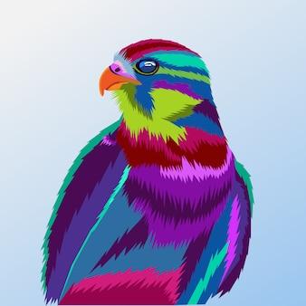 Colorato di ritratto di aquila pop art