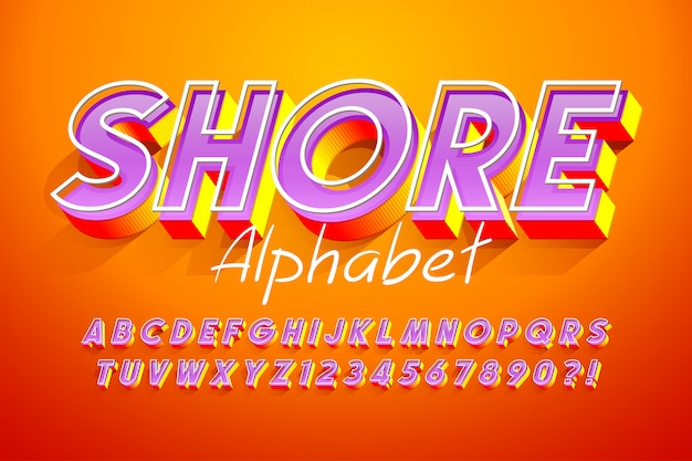 Colorato display 3d design font, alfabeto, lettere