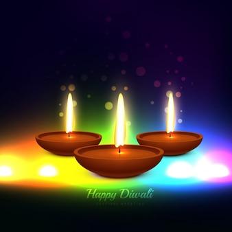 Colorato festa Diwali vettore biglietto di auguri design illustrazione