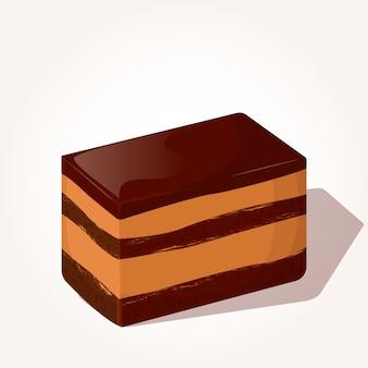 Colorato gustoso pezzo di torta al cioccolato in stile cartoon.