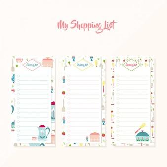 Colorato liste della spesa di raccolta