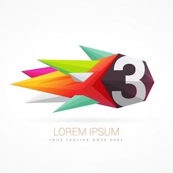 Colorato logo astratto con il numero 3
