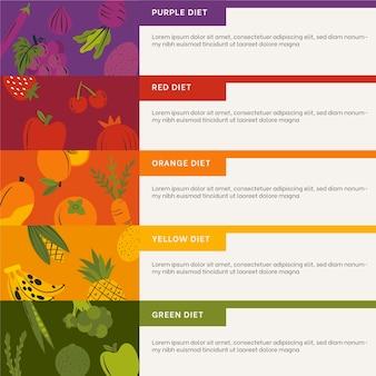 Colorato mangia un modello di infografica arcobaleno