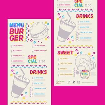Colorato menu del ristorante con hamburger