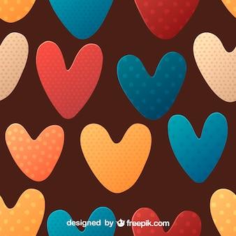 Colorato punteggiato cuore seamless pattern