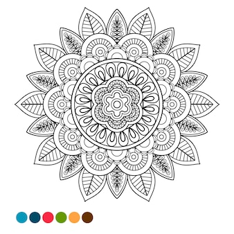 Colorazione antistress di ornamento mandala cerchio