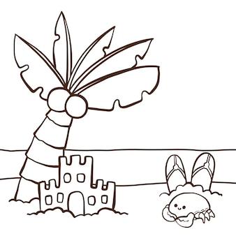 Colorazione carina per bambini con castello di sabbia