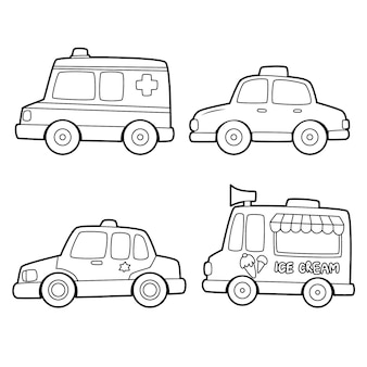 Colorazione carina per bambini con collezione di auto