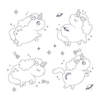 Colorazione carina per bambini con collezione di unicorni