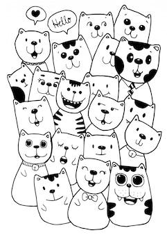 Colorazione dell'illustrazione di scarabocchi di stile di cat characters per i bambini