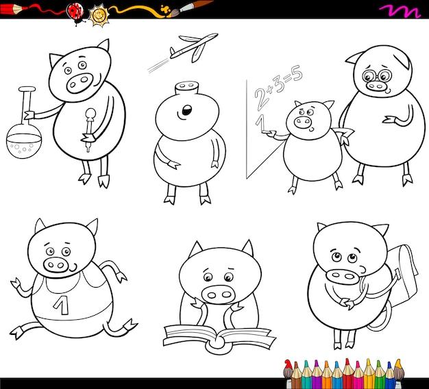 Colorazione di cartone animato studente maialino