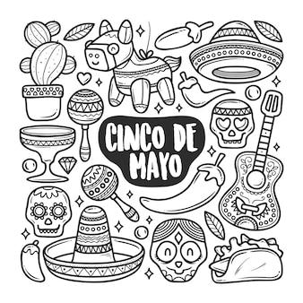 Colorazione di doodle disegnato a mano delle icone di cinco de mayo