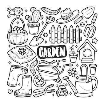 Colorazione di scarabocchio disegnato a mano delle icone del giardino